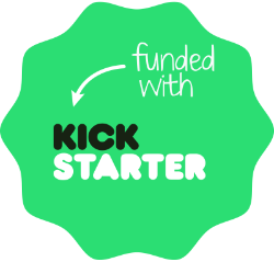 "Green badge with text ""funded by Kickstarter""."